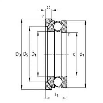 Axial deep groove ball bearings - 53215 + U215