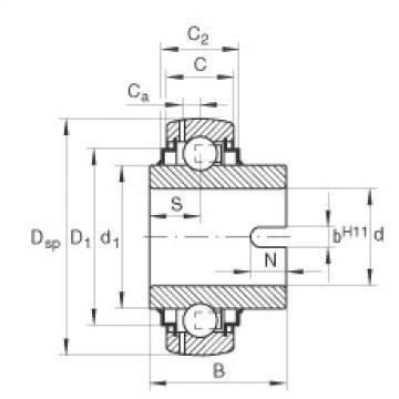 Radial insert ball bearings - GLE20-XL-KRR-B