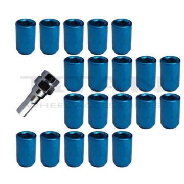 20 Piece Blue Chrome Tuner Lugs Nuts | 12x1.5 Hex Lugs | Key Included