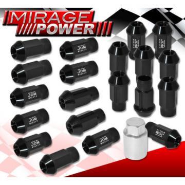 For Acura 12X1.5 Locking Lug Nuts Thread Wheels Rims Aluminum Extended 20P Black