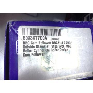 "RBC Cam Follower RBC21/4 2.250"" Outside Diameter Stud RBC Roller Cylindrical NEW"