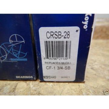 """2 NEW Koyo CRSB-28 Flat Cam Follower 1.75"""" Roller Diameter 1"""" Stud Needle Roller"""