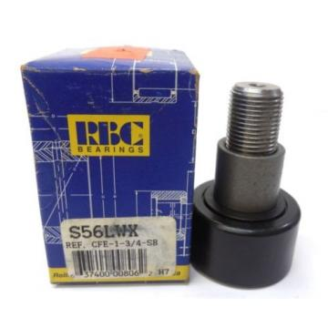 "RBC BEARING CAM FOLLOWER S56LWX, S-586-LWX, ROLLER OD 1-3/4"", W 1"", STUD OD 3/4"""