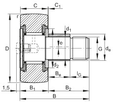 Stud type track rollers - KRE16-PP