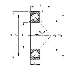 Angular contact ball bearings - 7005-B-XL-2RS-TVP