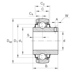 Radial insert ball bearings - GYE12-XL-KRR-B