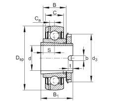Radial insert ball bearings - GSH20-XL-2RSR-B