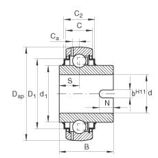Radial insert ball bearings - GLE25-XL-KRR-B