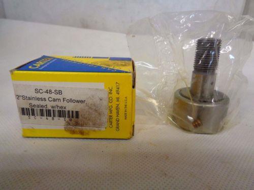 "NEW CARTER SC-48-SB STAINLESS STEEL CAM FOLLOWER BEARING SIZE 1-1/2"""