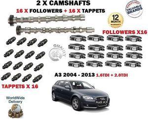 FOR AUDI A3 1.6 2.0 TDI 2003-> 2X CAMSHAFT CAM SET + 16 x FOLLOWER + 16x TAPPETS