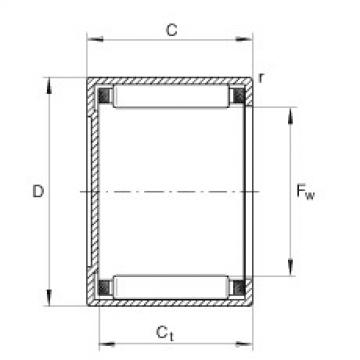 Drawn cup needle roller bearings with closed end - BK1816