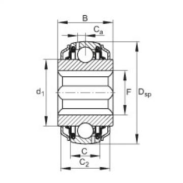 Self-aligning deep groove ball bearings - GVKE16-205-KRR-B-2C-AS2/V-AH01