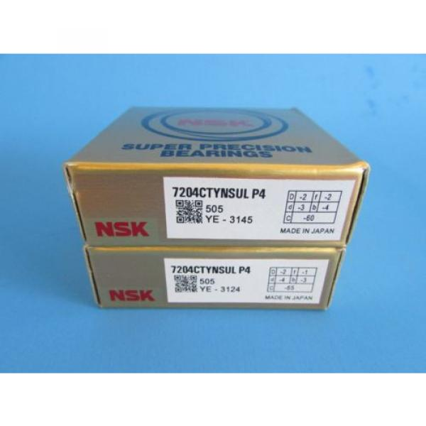 NSK7204CTYNSUL  P4 ABEC- 7 Super Precision Spindle Bearings (Matched Pair) #1 image